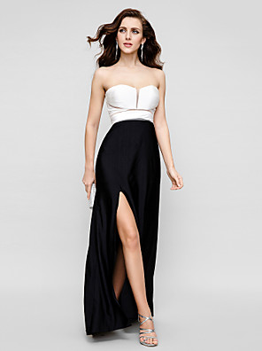 Evento Formal / Gala de Etiqueta Vestido - Espalda Bonita Funda / Columna Sin Tirantes Hasta el Suelo Raso de Satén con