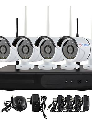 yanse® plug and play trådløse NVR kit p2p 720p hd udendørs / indendørs ir nattesyn sikkerhed ip kamera wifi CCTV-system