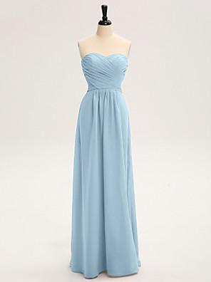 Lanting Bride® עד הריצפה שיפון שמלה לשושבינה - מעטפת \ עמוד סטרפלס עם בד בהצלבה