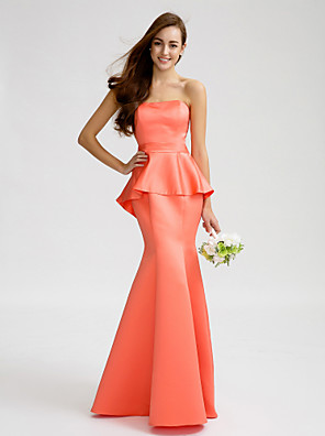 Lanting Bride® Na zem Satén Šaty pro družičky Mořská panna Bez ramínek s Šerpa / Stuha