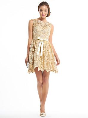 칵테일 파티 드레스 A-라인 스쿱 숏 / 미니 레이스 와 레이스