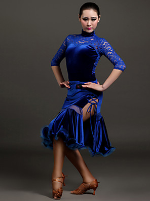 High-quality Velvet and Lace with Draped Latin Dance Outfits for Women's Performance(More Colors)