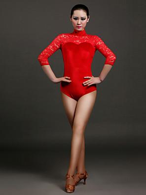 Dança Latina Malha Mulheres Actuação Renda / Veludo Renda 1 Peça Luva de comprimento de 3/4 Natural Malha CollantS:68cm M:69cm L:70cm