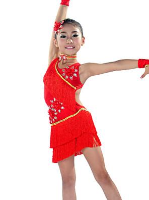 ריקוד לטיני תלבושות בגדי ריקוד ילדים ביצועים ספנדקס גדיל (ים) 5 חלקים שרוולים / שמלות / Neckwear / אביזרים לשיערDress length M(120):62cm