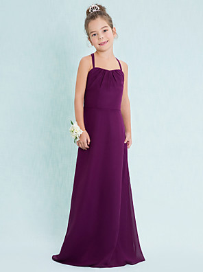 Floor-length Chiffon Junior Bridesmaid Dress Sheath / Column Spaghetti Straps with
