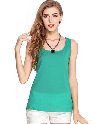 Women's Casual/Daily Summer Tanks,Solid Round Neck Sleeveless White / Black / Green / Orange / Yellow / Purple Polyester Thin