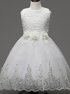 גזרת A באורך  הברך שמלה לנערת הפרחים - תחרה / אורגנזה ללא שרוולים עם תכשיטים עם