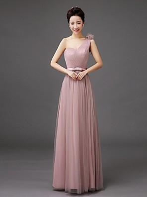 Floor-length Tulle Bridesmaid Dress Sheath / Column One Shoulder with Bow(s)