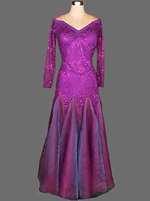 ריקודים סלוניים שמלות בגדי ריקוד נשים ביצועים קרפ / קטיפה עטוף חלק 1 שמלות Dress length S-XXL: 125cm