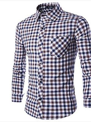 Men's Plaids Casual Shirt,Cotton Long Sleeve Black / Blue / Brown / Red