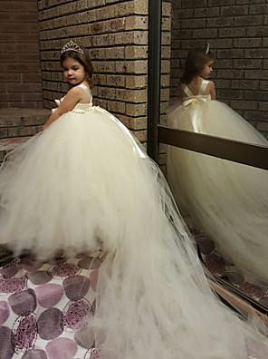 De Baile Cauda Corte Vestido para Meninas das Flores - Tule / Poliéster Sem Mangas Com Alças Finas com