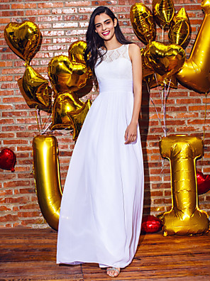 ts couture® שמלת הערב רשמית תכשיט נדן / טור באורך קרסול שיפון / תחרה עם תחרה