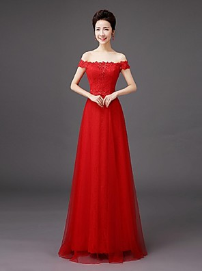 Floor-length Lace Bridesmaid Dress - Sheath / Column Off-the-shoulder with Embroidery / Lace