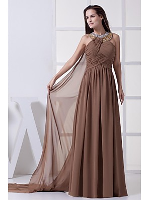 Floor-length Chiffon Bridesmaid Dress Ball Gown Halter with Beading