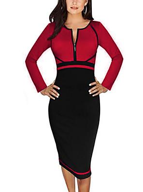 A-vonalú / Bodycon Ruha Női Vintage / Egyszerű / Utcai sikk Munka / Nagy méretek,Színes Kerek Térdig érő Hosszú ujj Kék / Piros / Sárga