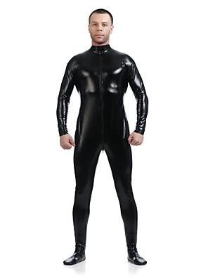 Skinnende Zentai Dragt Ninja Zentai Cosplay Kostumer Sort Ensfarvet Trikot/Heldragtskostumer / Zentai Spandex / Skinnende Metallisk Unisex