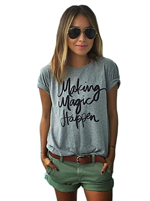 Women's Casual/Daily Street chic Spring T-shirt,Print Round Neck Short Sleeve Gray Cotton Opaque