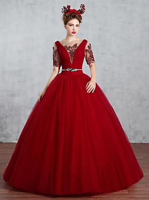 공주 웨딩 드레스 색상 웨딩 드레스 바닥 길이 보트넥 튤 와 비즈 / 크리스-크로스 / 드레이프트 / 진주