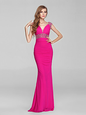 Formal Evening Dress Trumpet / Mermaid V-neck Sweep / Brush Train Chiffon / Tulle with Crystal Detailing / Side Draping