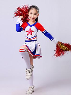Kostýmy pro roztleskávačky Úbory Dětské Výkon Polyester Plisované 2 kusy Dlouhé rukávy Vysoký Sukně / horní a dolní část)