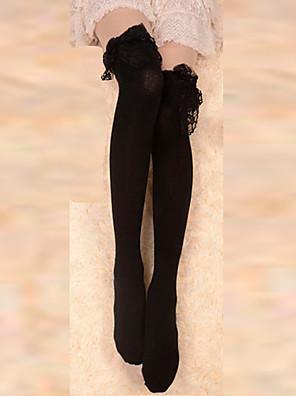 גרביים וגרביונים לוליטה גותי לוליטה Black לוליטה אביזרים גרביונים תחרה ל נשים כותנה