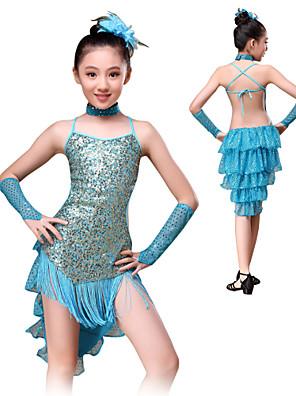 Dança Latina Roupa Crianças Actuação Poliéster / Lantejoulas Pano / Lantejoulas 5 Peças Luvas / Vestidos / Neckwear / TiarasS:73cm M:78cm