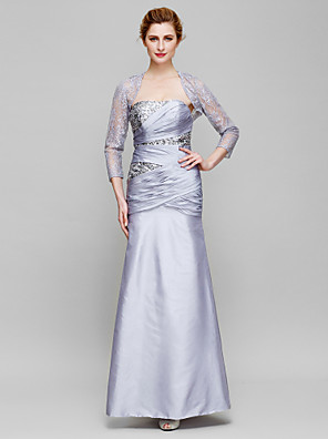 Sheath / Column Mother of the Bride Dress Ankle-length 3/4 Length Sleeve Lace / Taffeta with Criss Cross / Sequins