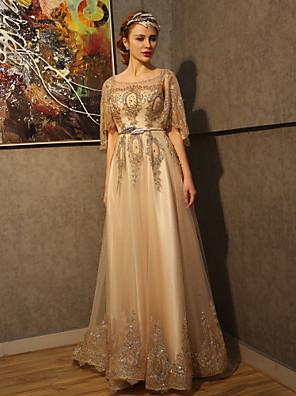 A-라인 웨딩 드레스 코트 트레인 스쿱 튤 / 스팽글 와 비즈 / 크리스탈 / 패턴 / 진주 / 스팽글