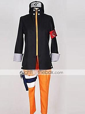 קיבל השראה מ Naruto Naruto Uzumaki אנימה תחפושות קוספליי חליפות קוספליי טלאים שחור / כתום עליון / מכנסיים / אביזר לשיער / אביזרים נוספים