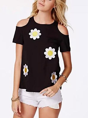 Women's Casual/Daily Simple Summer Blouse,Print Round Neck Short Sleeve Black Polyester Thin