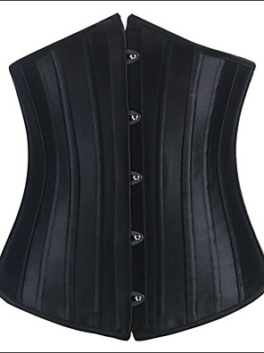 Women Underbust Corset Nightwear Solid Polyester / Satin / Spandex Black Women's