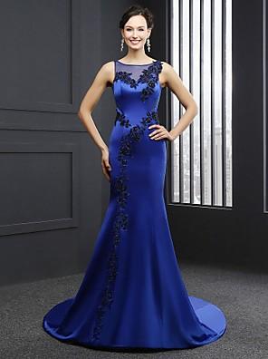 Fiesta formal Vestido-Azul Real Trompeta/Sirena Capilla-Joya Satén