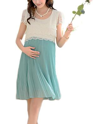 Katoen / Polyester-Ronde hals-Kant / Geplooid-Boven de knie-Moederschap jurk-Korte mouw