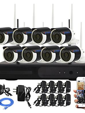 yanse® 8-kanals DIY vandtæt trådløs NVR kit 720p hd ir nattesyn sikkerhed ip kamera wifi CCTV-system p2p