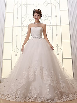 Ball Gown Wedding Dress-White Cathedral Train Strapless Lace / Satin / Tulle