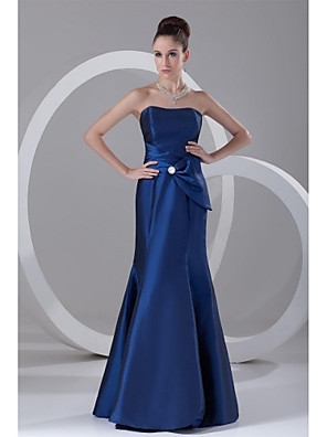 Formal Evening Dress Trumpet / Mermaid Strapless Floor-length Taffeta with Crystal Detailing / Side Draping