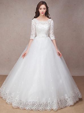 공주 웨딩 드레스 바닥 길이 스쿱 레이스 와 리본 / 꽃장식 / 러플