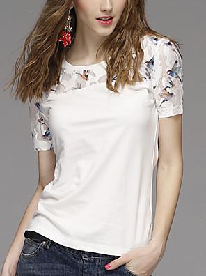 Dámské Tisk Běžné/Denní Vintage / Jednoduché Tričko-Léto Modal / Polyester Kulatý Krátký rukáv Bílá Neprůhledné
