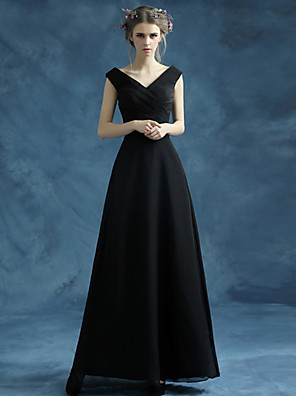 Longueur Cheville Organza / Satin Robe de Demoiselle d'Honneur  Trapèze Col en V avec Ceinture / Ruban / Croisé