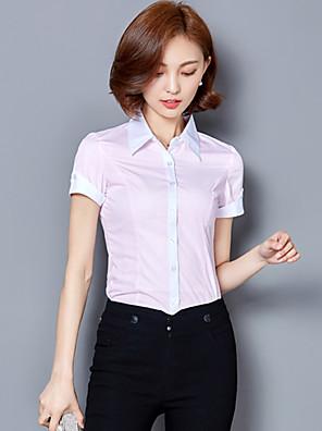 Women's Shirt Collar OL Career Block Stitching Short Sleeve Shirt