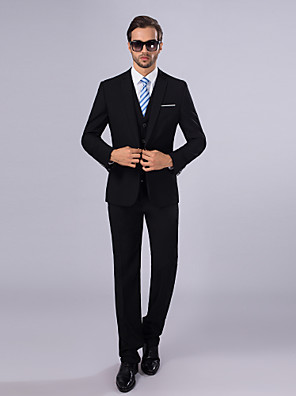 Suits Slim fit Tyndt hakrevers Single Breasted En-knap 3 dele Sort Lige m. flap