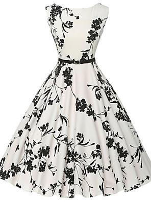 הבציר של נשים / שמלה פרחונית נדן / מחליק פשוט, כותנה באורך ברך צוואר עגולה (דפוס פרח אקראי)
