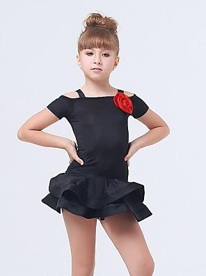 Dětské taneční kostýmy Šaty Dětské Výkon elastan / Polyester Volánky / Vrstvy Jeden díl Krátké rukávy Šaty