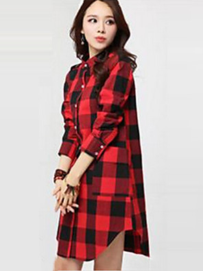 Women's Check Red / White Blouse,Stand Long Sleeve