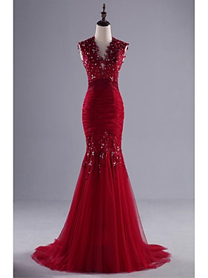 TS Couture® Formal Evening Dress Trumpet / Mermaid V-neck Sweep / Brush Train Lace / Tulle with Appliques / Beading / Lace / Sequins