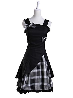 Ermeløs Kort Svart Sjekk Mønster Cotton Søt Lolita Dress