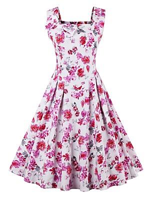 Women's Plus Size Vintage Swing Dress,Floral Strap Midi Sleeveless Pink Cotton Summer