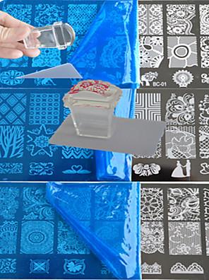 10stk blonder stempling plade polish nail art transfer skabelon og en firkantet gennemsigtig stempel bc1-10