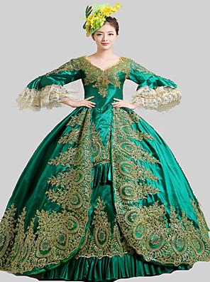 Jednodílné/Šaty Gothic Lolita Steampunk® / Rococo Cosplay Lolita šaty Zelená Retro Dlouhé rukávy Long Length Šaty / Klobouk / Spodnička