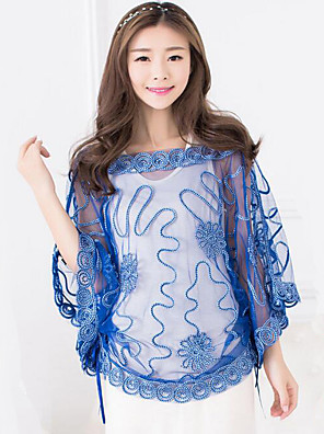 Women's Print Batwing Sleeve Loose Lace See-through Blouse,Boat Neck ¾ Sleeve